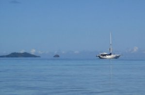 Sailing Yacht Off The Islands Of Fiji